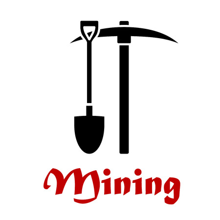 pickaxe: Mining emblem or badge with black silhouettes of a pick-axe and shovel over red text Mining