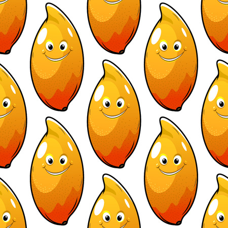 Fresh mango fruit characters seamless pattern for food or agriculture design Vector