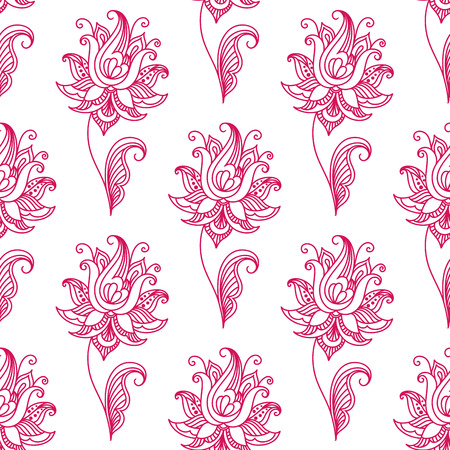 persian: Pink persian or indian paisley floral seamless pattern for background, textile or interior design
