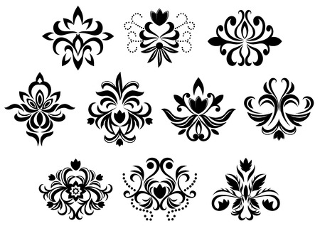 Black damask flower blossoms and patterns set isolated on white background for design and ornate