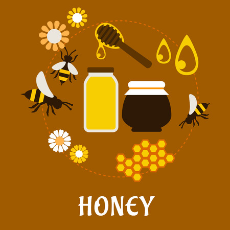 honey pot: Beekeeping and fresh Honey flat concept with flowers, bees, pollen and a bottle and jar of dripping honey Illustration