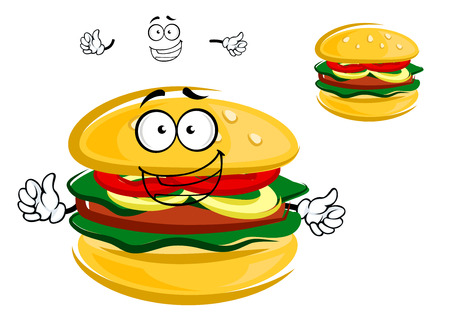 tempting: Tasty tempting cartoon hamburger character with fresh lettuce, tomato and onion with a beef patty on a bun