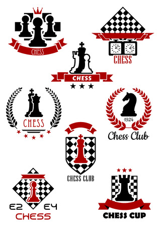 chess game: Black and red chess sports game icons, labels and symbols for club, cup and tournament icon design Illustration