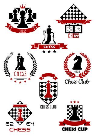 ajedrez: Negro y rojo de los deportes de ajedrez juego iconos, etiquetas y símbolos para el club, la taza y el torneo de icono del diseño