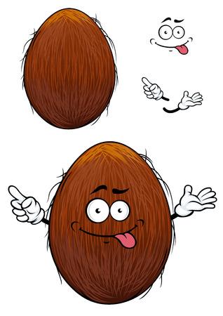 Leuke gelukkige cartoon kokosnoot met een cheesy grijns en zijn tong uitsteekt en armen met een tweede platte variant met geen gezicht en afzonderlijke elementen
