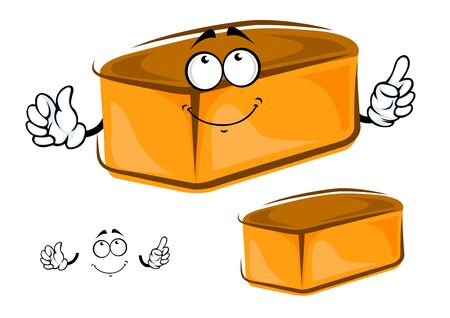 white bread: Cartoon funny loaf of white bread character with a happy smile and arms