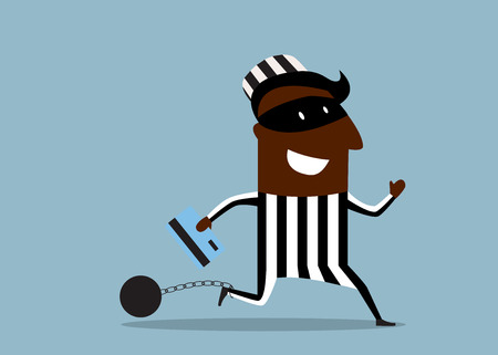ball and chain: African hacker prisoner wearing a mask and striped prison clothes running with stolen credit card and ball with chain attached to his foot