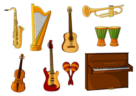 Colored cartoon musical instruments with a saxophone, harp, guitar, trombone, maracas, violin, drums and piano Illustration