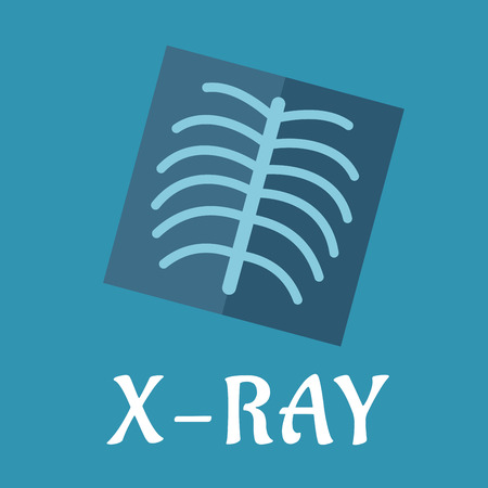 Blue medical flat x-ray icon with spine and ribs for medicine and anatomy concept design