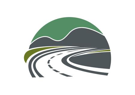 柏油的公路或道路和天空消失在群山附近的距離 向量圖像