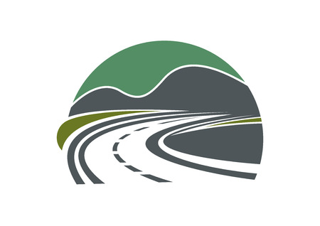 Tarred highway or road and sky disappearing into the distance near mountains Illustration