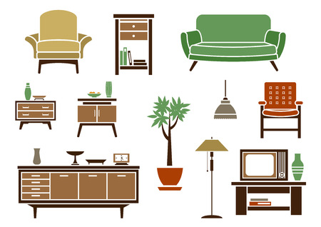 Flat interior decorations and furniture icons set with chair, wardrobe, bed, lamp, dresser, nightstand and TV Illustration