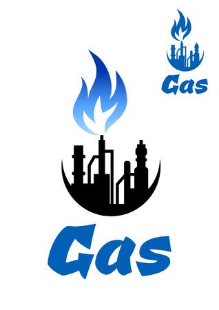 gas flame: Natural gas Estrazione icona fabbrica con fiamma del gas blu per l'icona industriale o disegno emblema