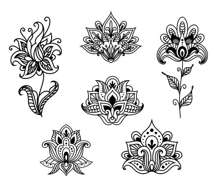 Outline floral paisley design elements set for ornament or fabric design in vintage persian style Vettoriali
