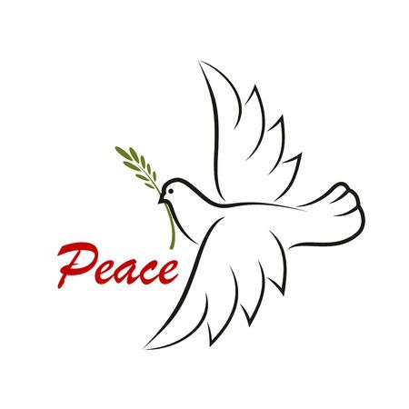 paloma caricatura: El blanco se zambulló con la rama verde para como un símbolo de la paz o el diseño de concepto religioso