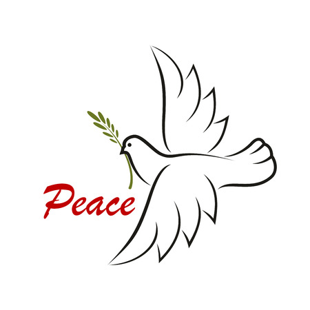 religious christmas: White dove with green twig for as a peace symbol or religious concept design Illustration