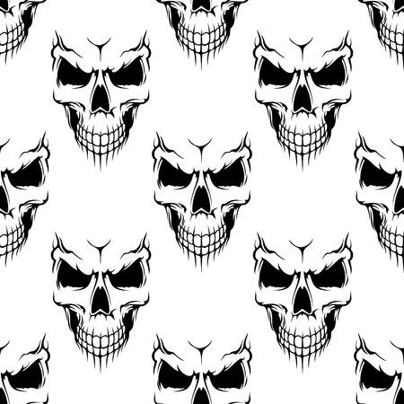 Black danger skull seamless pattern for religion, piracy or Halloween concept design