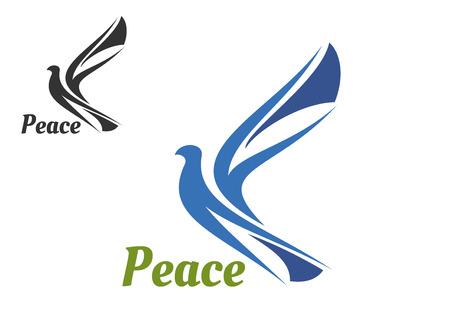 Blue silhouette of pigeon bird as a peace symbol or religion emblem design Illustration