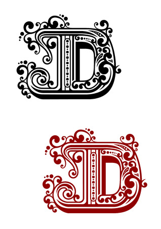 decorative letter: Ancient capital letter D with floral elements for calligraphy, antique or monogram design