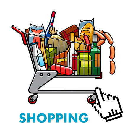 hand cart: Online shopping concept with a full shopping cart of assorted groceries and drinks with web hand icon below for ordering or purchasing