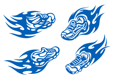 running back: Flaming running or sports shoes depicting speed viewed from the front and back, for sports design Illustration