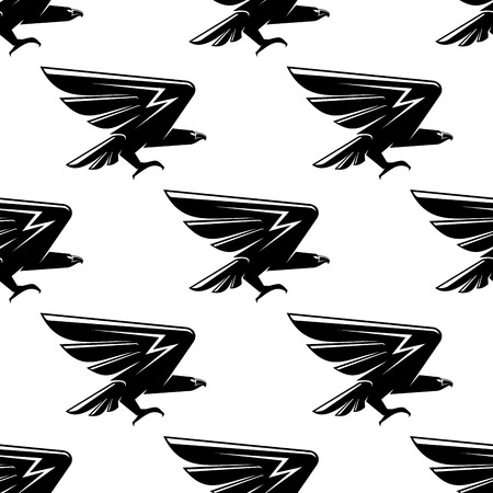 nobility: Seamless pattern with black hawks birds for heraldic or nobility design Illustration