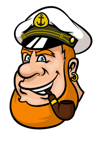ship captain: Happy cartoon ship captain or sailor character with a red beard and blue eyes wearing his cap and smoking a pipe
