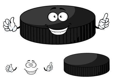 cartoon hockey: Happy cartoon hockey puck character with a beaming smile waving its hands isolated on white background Illustration