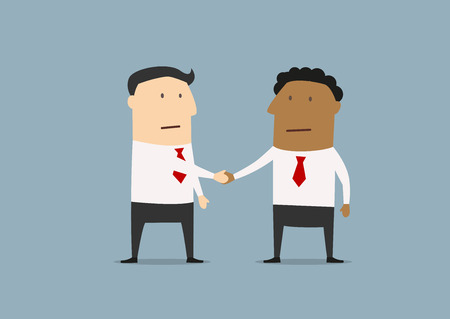 ethnicities: Cartoon businessmen of different ethnicities shaking hands as a symbol of friendship and partnership