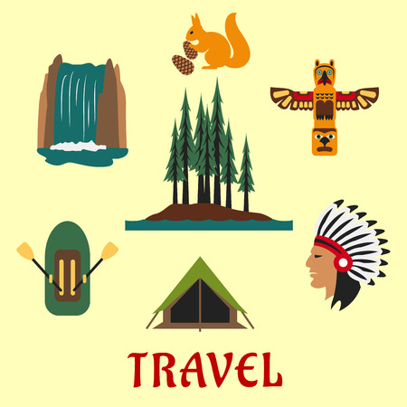 waterfall in forest: Travel concept for the Canadian or American wilderness with a rubber dinghy, waterfall, forest, native American Indian, totem, squirrel and tent Illustration