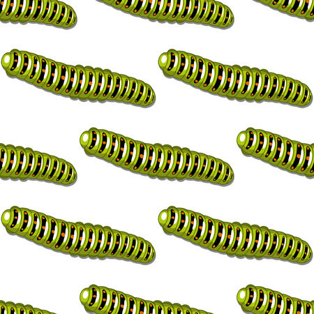 Seamless background pattern of green caterpillars with a repeat cartoon motif in square format on white