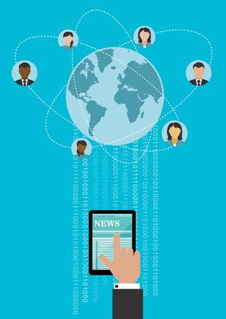globe: Creative wereldwijde netwerken conceptontwerp met menselijke hand met behulp van tablet-computer voor het verbinden van mensen over de hele wereld met binaire cijfers Stock Illustratie