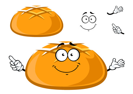 bread rolls: Happy fresh crusty cartoon bread character with waving arms and a happy smile with a second plain variation Illustration