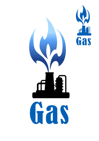 petrochemical: Gas refinery and mining concept with a silhouette of petrochemical plant with a flame Illustration