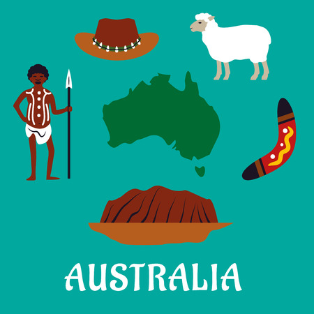 aussie: Australian conceptual travel icons and landmarks with australian map surrounded by mountain, boomerang, sheep, sombrero hat and native man Illustration