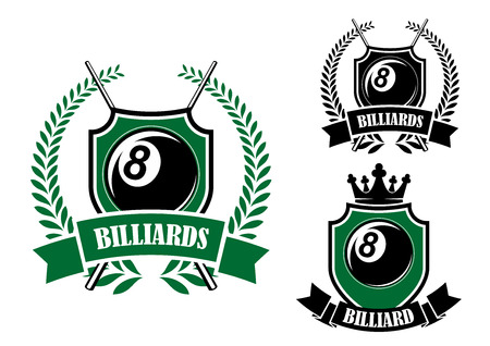 cues: Eight ball billiards or pool emblem with crossed cues, black ball, crown and laurel wreath Illustration