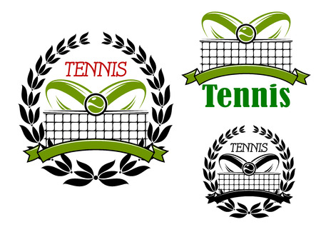 tennis net: Tennis sport game icons or emblems with flying ball, laurel wreath and court net