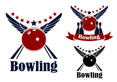 on strike: Winged bowling ball and ninepins in red and blue colors with decorative elements for sports emblem design Illustration