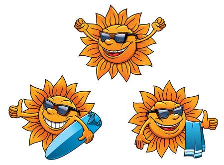 caras de emociones: Personajes de sol de verano de la cadera de moda con las caras felices con gafas de sol y agitar, dos con tablas de surf