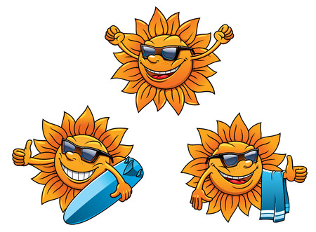 sun light: Trendy hip summer sun characters with happy faces wearing sunglasses and waving, two with surf boards