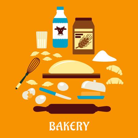 kneading: Processo di impastare in stile piano con le icone di pasta, latte, burro, uova, farina e utensili da cucina Vettoriali