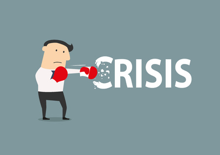 breaks: Businessman breaks the crisis with boxing gloves, flat conceptual style