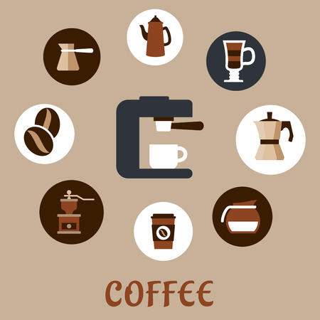 coffee machine: Flat icons with grinder, pot, sugar, beans, cups and coffee maker around coffee machine