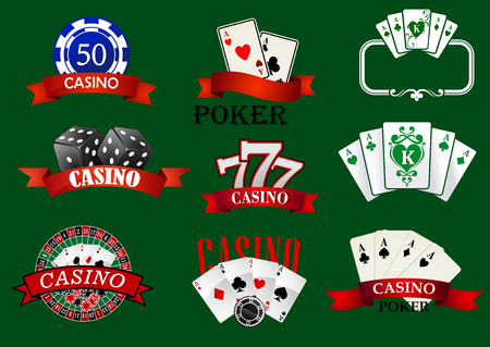 casino wheel: Casino and gambling icons set with casino chips, bet, roulette, dice and cards