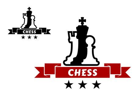 chessmen: Chess emblem with different chessmen for sport tournament design Illustration