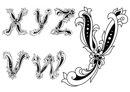 cartas antiguas: Las letras del alfabeto v, w, x, y, z en estilo retro decorado con flores para cualquier diseño medieval o monograma Vectores
