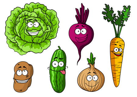 cucumber salad: Cartoon fresh vegetables characters with  cabbage, beet, onion, carrot, potato and cucumber Illustration