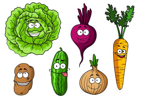 zanahoria caricatura: Cartoon verduras frescas personajes con repollo, remolacha, cebolla, zanahoria, patata y pepino Vectores