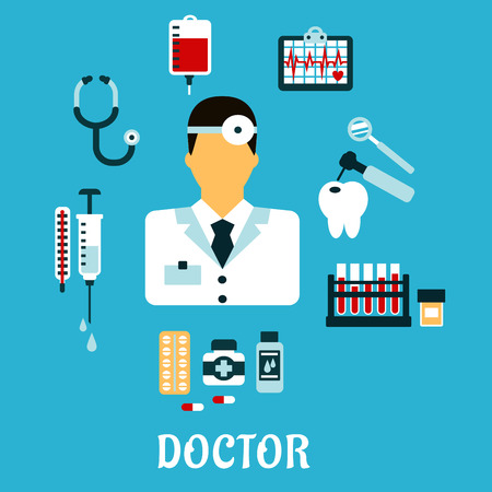 reflector: Doctor therapist in flat style with medical icons as tubes, flasks, drugs and pills, syringe, dentistry, blood transfusion, ultrasound stethoscope Illustration