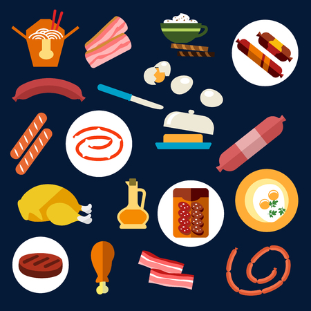 chicken meat: Colored flat food and meat icons with eggs, butter, bacon, various sausages, chicken, oil and salami